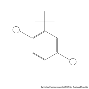 2D structural formula of Butylated hydroxyanisole
