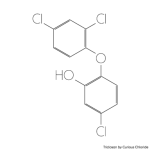 Structural formula of triclosan