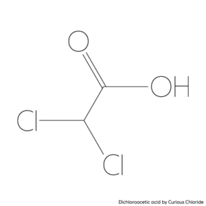 Structural formula of dichloroacetic acid