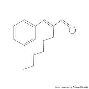 Structural formula of hexyl cinnamal